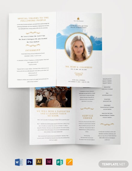 Christian Funeral Obituary Bi-Fold Brochure Template