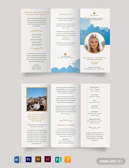 Christian Funeral Obituary Tri-Fold Brochure Template