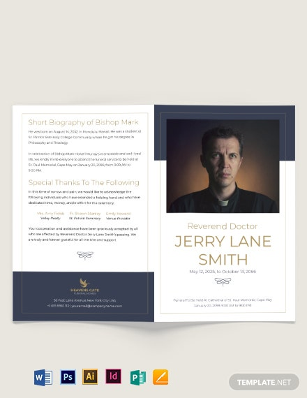 Christian Funeral Program Bi-Fold Brochure Template