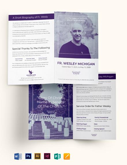 Christian Loving Memory Funeral Bi-Fold Brochure Template