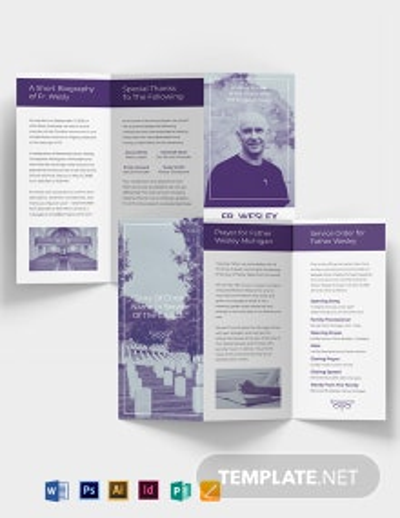 Christian Loving Memory Funeral Tri-Fold Brochure Template