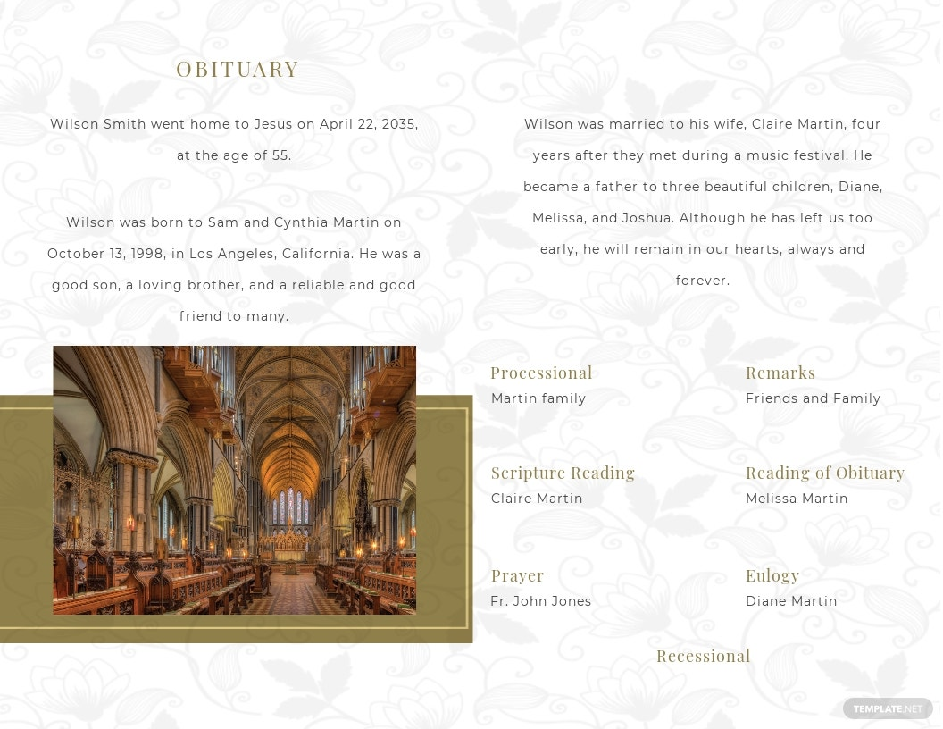 Church Funeral Obituary Bi Fold Brochure Template 1.jpe