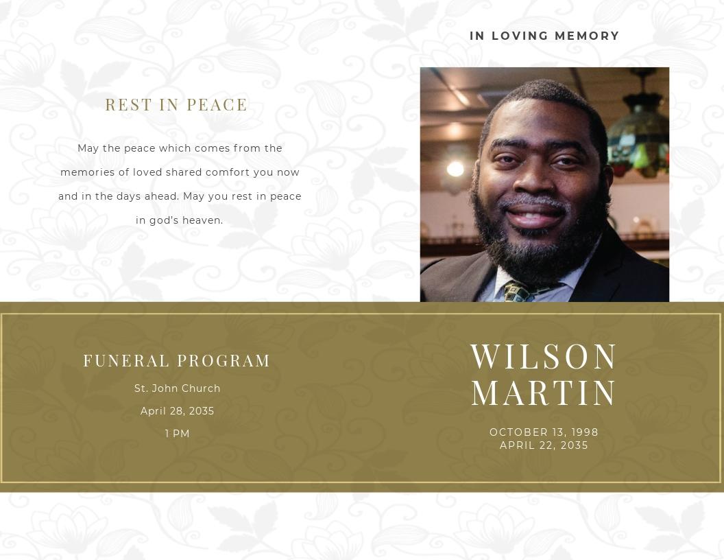Church Funeral Obituary Bi Fold Brochure Template.jpe