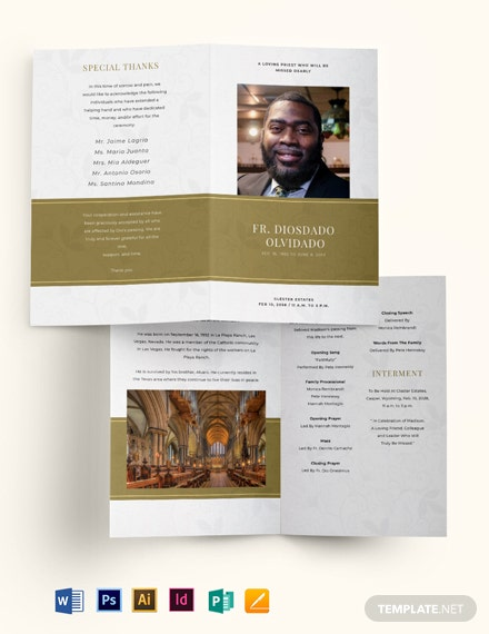 Church Funeral Obituary Bi-Fold Brochure Template
