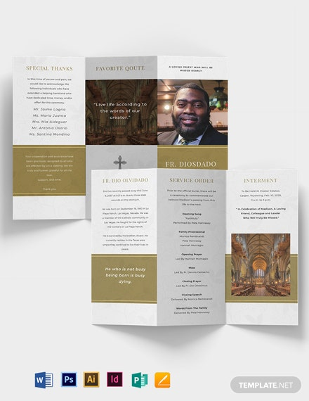 Church Funeral Obituary Tri-Fold Brochure Template