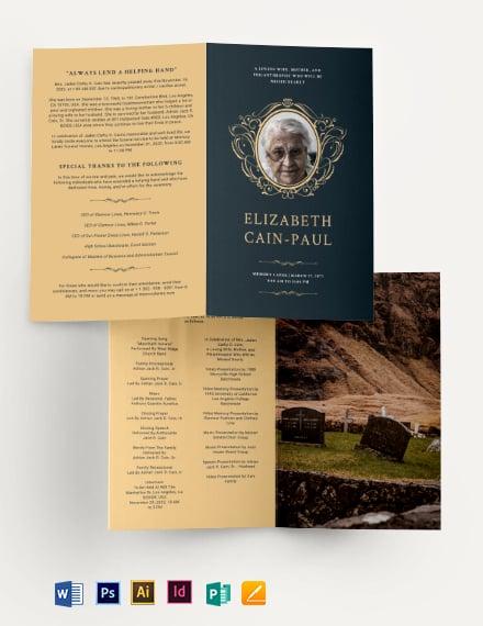 Classic Funeral Obituary Bi-Fold Brochure Template