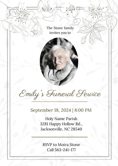 Funeral Announcement Invitation Template