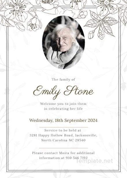 catholic funeral program invitation template in adobe