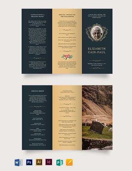 Classic Funeral Obituary Tri-Fold Brochure Template