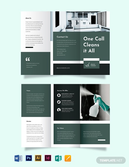 Cleaning Services Company Tri-Fold Brochure Template