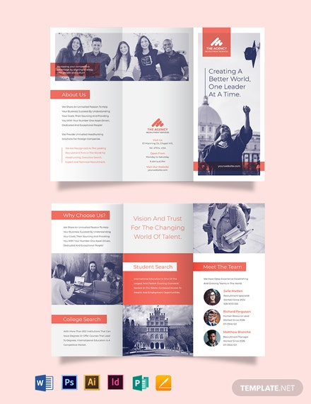 College Recruitment Tri-Fold Brochure Template