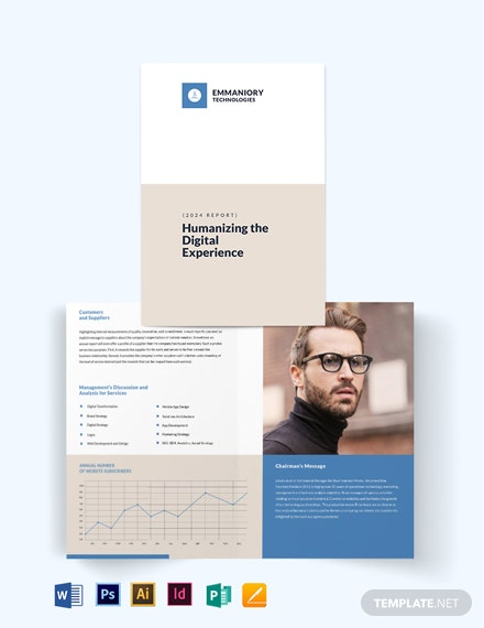 Corporate Annual Report Bi-Fold Brochure Template
