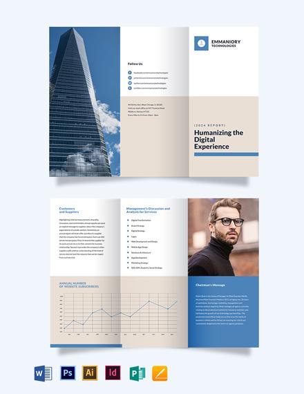 Corporate Annual Report Tri-Fold Brochure Template