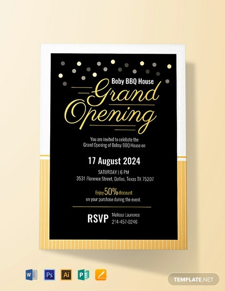 Free Grand Opening Invitation Card Template Word Psd