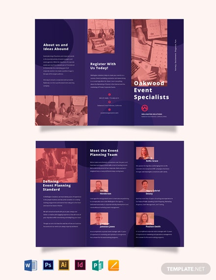 Corporate Event Planner TriFold Brochure Template