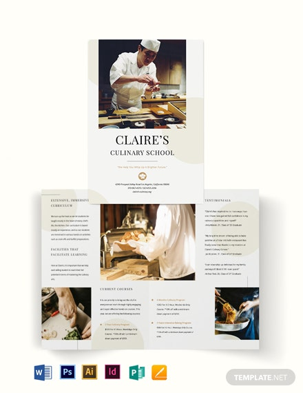 Culinary School Bi-Fold Brochure Template