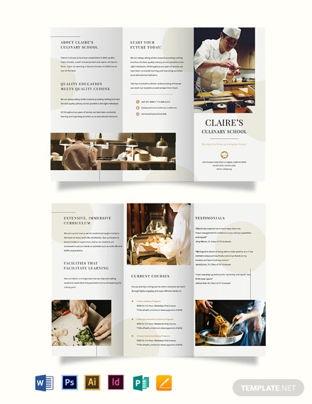 Culinary School TriFold Brochure Template