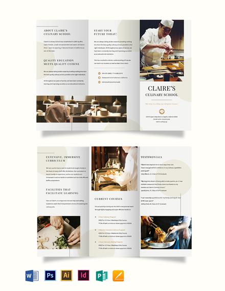 Culinary School Tri-Fold Brochure Template