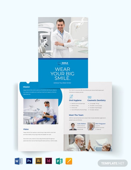 Dental Clinic Advertising Bi-Fold Brochure Template