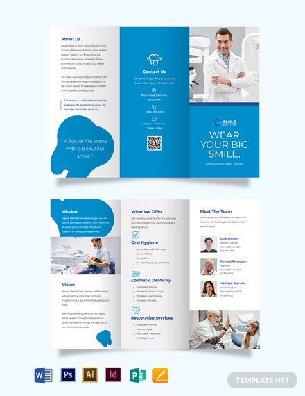 Dental Clinic Advertising Tri-Fold Brochure Template