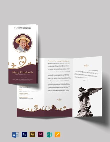 Editable Loving Memory Funeral Tri-Fold Brochure Template
