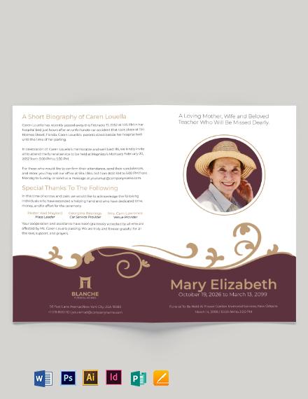 Editable Loving Memory Funeral Bi-Fold Brochure Template