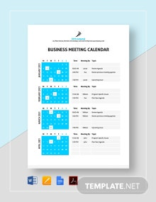 Business Meeting Calendar Template