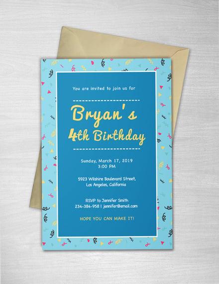 Free Kid's Birthday invitation Template