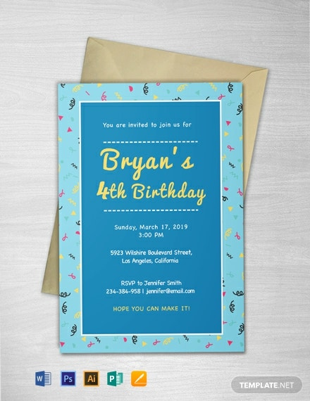 Free Kid's Birthday invitation Template