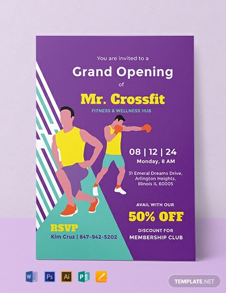 free gym opening invitation template