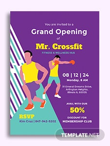 Gym Opening Invitation Template