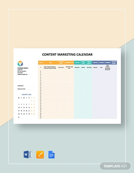 content marketing calendar 2