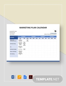 Marketing Plan Calendar Template