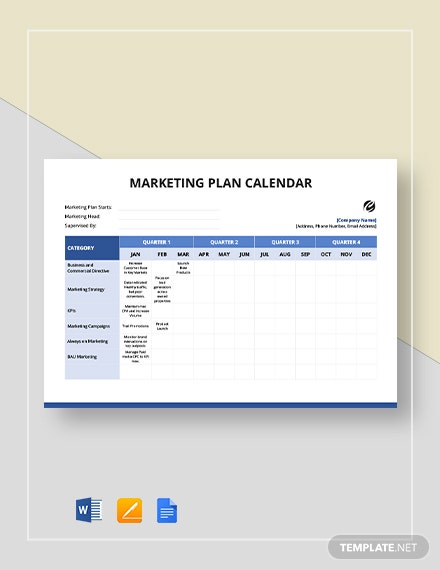 marketing plan calendar