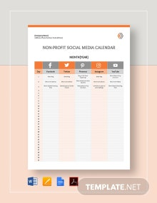 Nonprofit Social Media Calendar Template