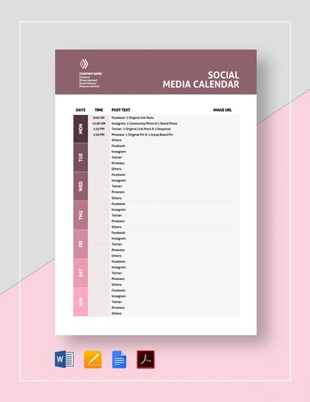 Printable Social Media Calendar Template