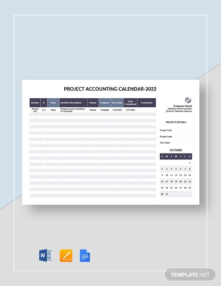 project accounting calendar