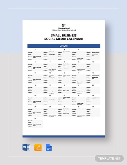Small Business Social Media Calendar Template