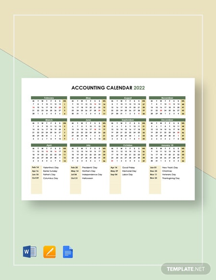 Accounting Calendar Template