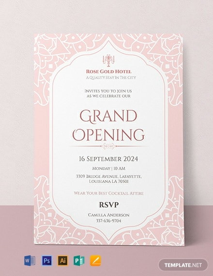 Free Hotel Opening Invitation Card Template Word Psd