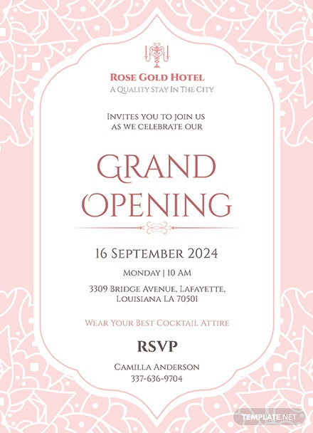 hotel opening invitation card template  download 344