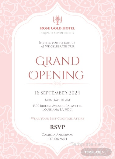 hotel opening invitation card template in adobe photoshop
