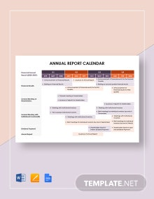 Annual Report Calendar Template