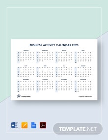Business Activity Calendar Template
