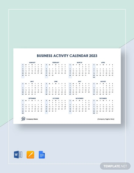 business activity calendar