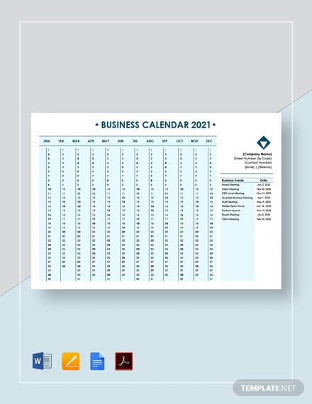 Editable Business Calendar
