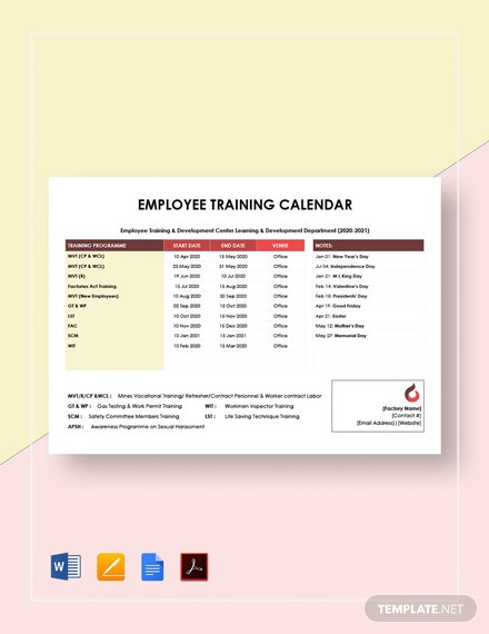 Employee Training Calendar Template
