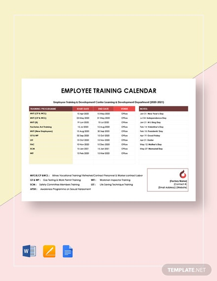employee training calendar