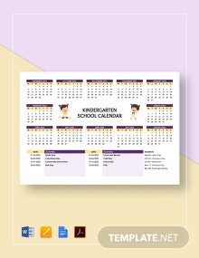 Kindergarten School Calendar Template
