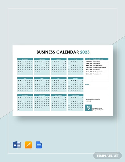 printable business calendar